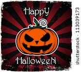 halloween greeting card with... | Shutterstock .eps vector #113039173