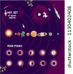 vector set of space objects ... | Shutterstock .eps vector #1130402408