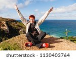 happy wide smiling redhead... | Shutterstock . vector #1130403764