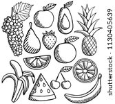 fruits icons set stock hand... | Shutterstock .eps vector #1130405639