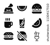 filled set of 9 food icons such ... | Shutterstock .eps vector #1130417510