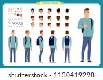 standing young boy. male... | Shutterstock .eps vector #1130419298