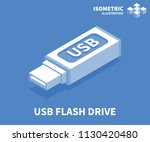 usb flash drive icon. isometric ... | Shutterstock .eps vector #1130420480