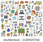 vector set with hand drawn... | Shutterstock .eps vector #1130425760