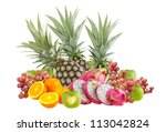fresh mix fruits on  white... | Shutterstock . vector #113042824