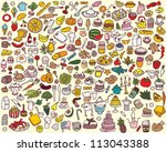 big food and kitchen collection | Shutterstock .eps vector #113043388