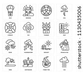set of 16 icons such as co2 ... | Shutterstock .eps vector #1130435006