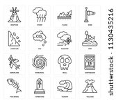 set of 16 icons such as volcano ... | Shutterstock .eps vector #1130435216