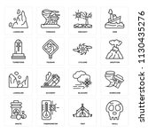 set of 16 icons such as skull ...