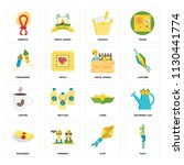 set of 16 icons such as pole ...
