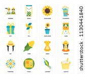 set of 16 icons such as canjica ...