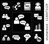 set of 13 simple editable icons ... | Shutterstock .eps vector #1130471129