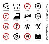 set of 16 icons such as lost...