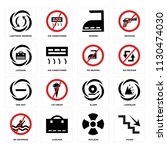 set of 16 icons such as stairs  ...