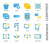 set of 16 icons such as graphic ... | Shutterstock .eps vector #1130474519