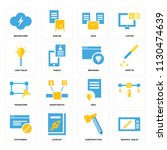 set of 16 icons such as graphic ... | Shutterstock .eps vector #1130474639