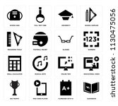 set of 16 icons such as... | Shutterstock .eps vector #1130475056