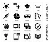 set of 16 icons such as book ...