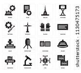 set of 16 icons such as boxes ...