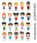 happy kids cartoon collection.... | Shutterstock .eps vector #1130475353