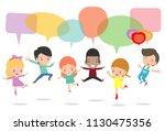 cute kids with speech bubbles ... | Shutterstock .eps vector #1130475356