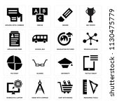 set of 16 simple editable icons ... | Shutterstock .eps vector #1130475779