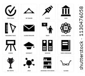 set of 16 icons such as glasses ...