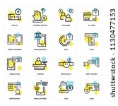 set of 16 icons such as card ... | Shutterstock .eps vector #1130477153
