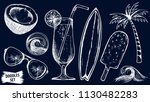 summer travel sketches set.... | Shutterstock .eps vector #1130482283