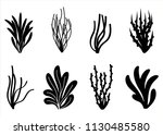 algae icon set. marine plants... | Shutterstock .eps vector #1130485580