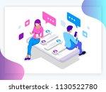 isometric banner of virtual...   Shutterstock .eps vector #1130522780