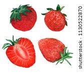 strawberry red berries  | Shutterstock . vector #1130522870