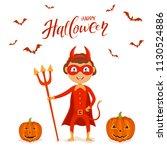 funny little kid in red costume ...   Shutterstock .eps vector #1130524886