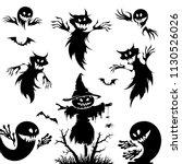 halloween set.pumpkin   broom   ... | Shutterstock .eps vector #1130526026