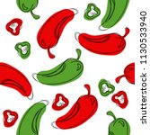seamless pattern red chilli... | Shutterstock .eps vector #1130533940