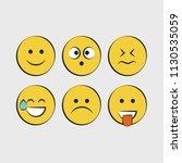 set of smile icons. emoji.... | Shutterstock .eps vector #1130535059