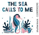 the sea calls to me. summer... | Shutterstock .eps vector #1130550290