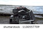 broken computer parts  monitors ... | Shutterstock . vector #1130557709