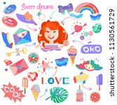 stickers. set of pictures for... | Shutterstock . vector #1130561729