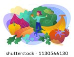a white woman among fruits ... | Shutterstock .eps vector #1130566130