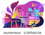 people in office working at the ... | Shutterstock .eps vector #1130566136