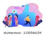 plus size woman in front of the ... | Shutterstock .eps vector #1130566154