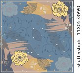 silk scarf with flowers and... | Shutterstock .eps vector #1130573990