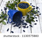 blue and yellow cups full of... | Shutterstock . vector #1130575883