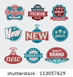 vector set of vintage retro... | Shutterstock .eps vector #113057629