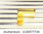 yellow glass chevron left icon...   Shutterstock . vector #1130577734