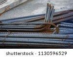 bundle of steel rebar for... | Shutterstock . vector #1130596529