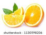 fresh orange isolated on white... | Shutterstock . vector #1130598206