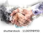 abstract colorful handshake... | Shutterstock . vector #1130598950
