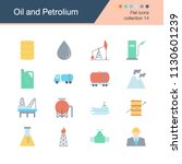 oil and petroleum icons. flat... | Shutterstock .eps vector #1130601239